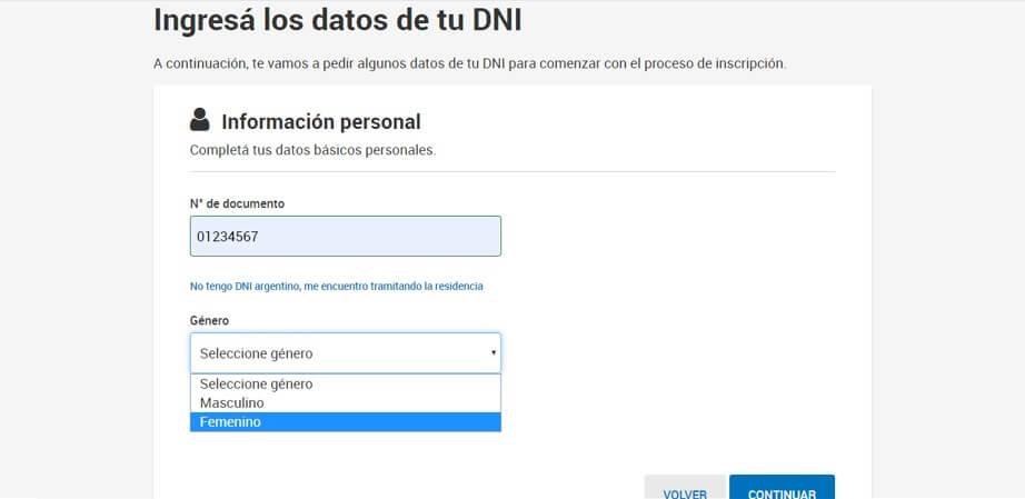 Ingresá los datos de tu DNI para cuit online cuitargentia.com