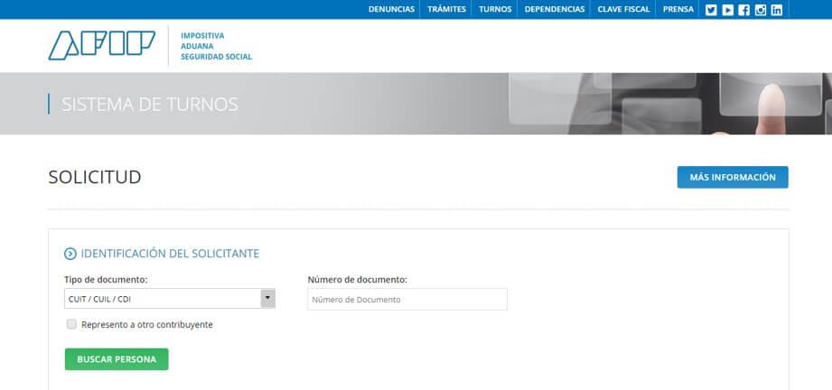 sistema de turnos AFIP cuit presencial cuitargentina.com