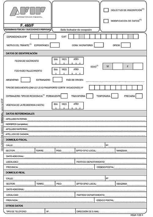 Formulario N 460F (Personas Físicas y Sucesiones Indivisas)